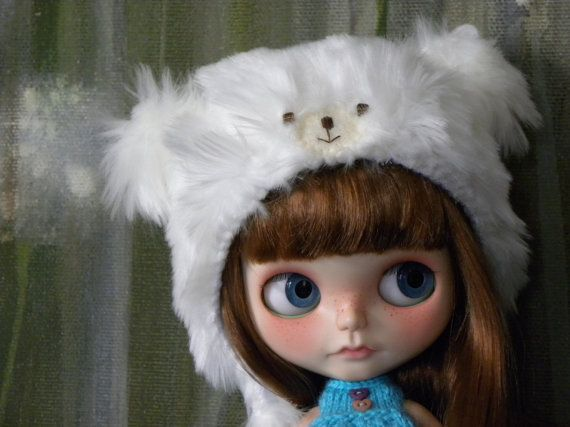 Blythe Doll Bear Helmet / White / hat / OOAK / by AltheasDollHouse, $34.90