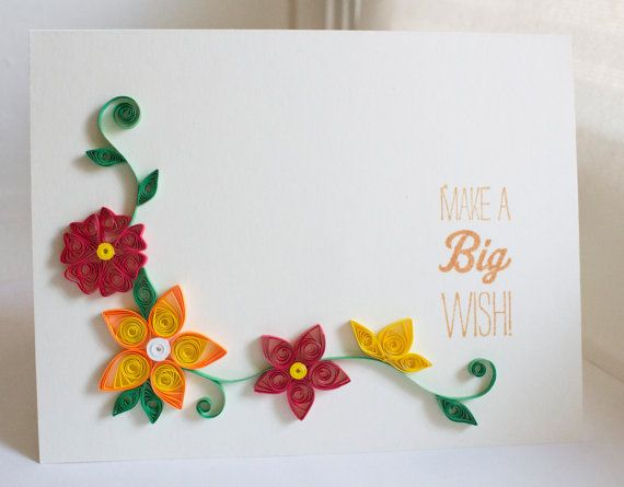 Handmade Happy Birthday Card Make A Big Wish With Paper Quilled