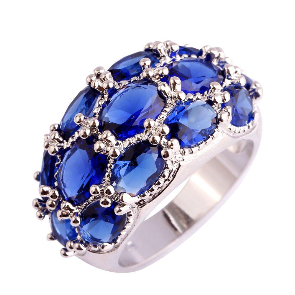 lingmei Luxuriant Bohemia Style Jewelry Blue Quartz AAA Silver ...