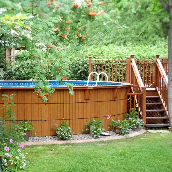 Piscine en cèdre hors terre Pool Pinterest Decking, Deck - amenagement autour piscine hors sol