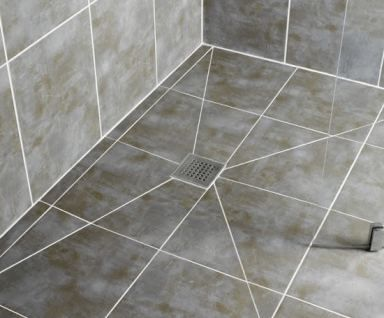 Large Tiles On A Four Way Slope Require Diagonal Cuts Bathroom