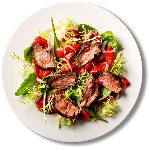 Steak, peppers, greens (83).   Recipes for 101 Simple Salads for the Season - NYTimes.com