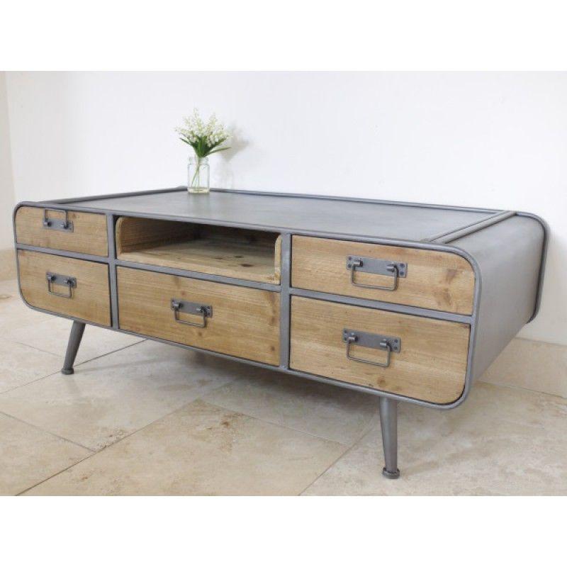 Table de rétro et basse industriel avec tiroirs style 08nOPkw
