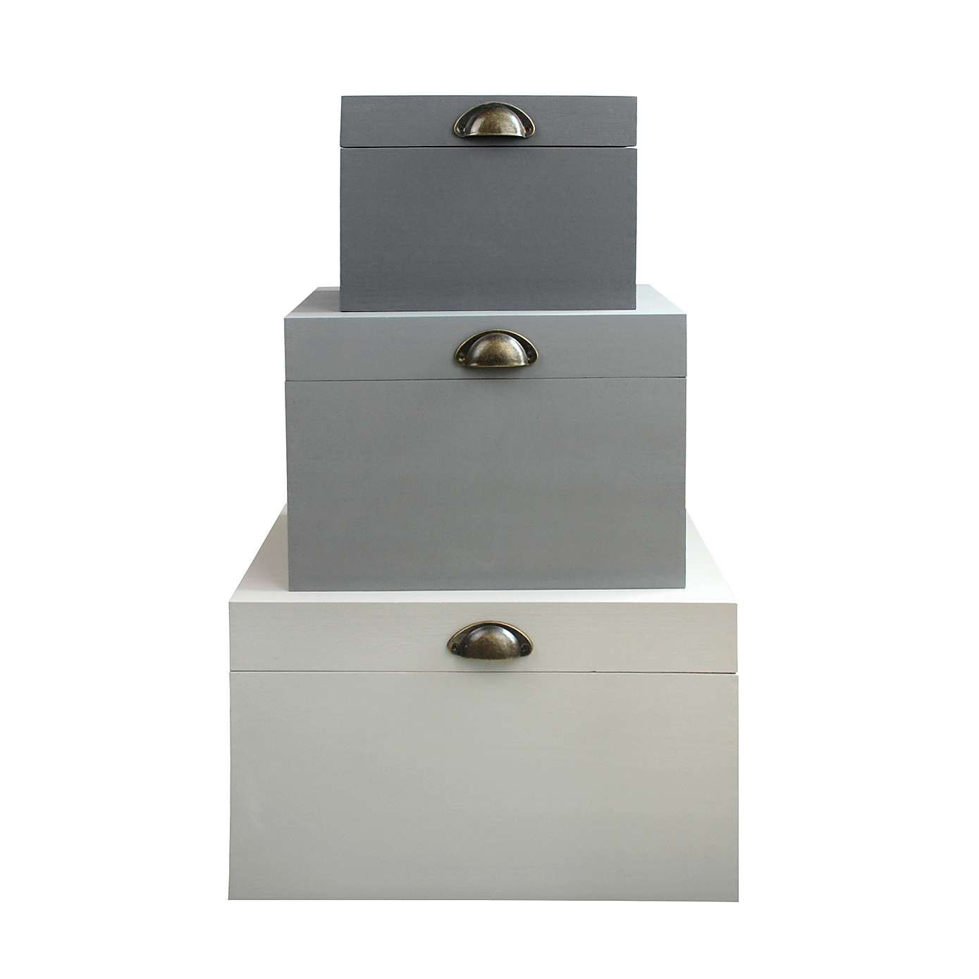 Lovely Crafted From Wood And Featuring A Distressed Bronze Handle, Our Modern Grey  Storage Trunk Is Available In A Choice Of Three Sizes.