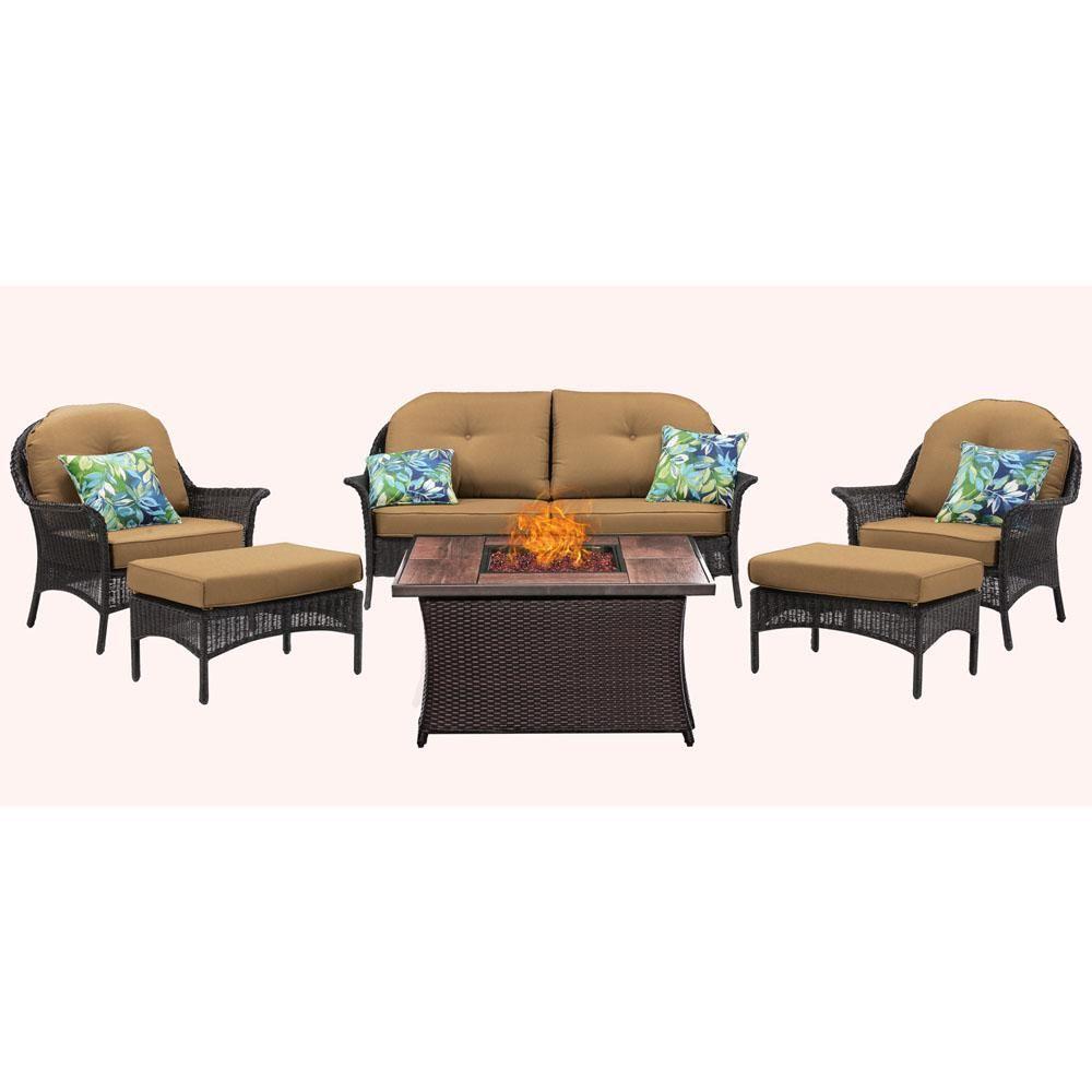 Hanover San Marino 6-Piece Woven Patio Seating Set with ...