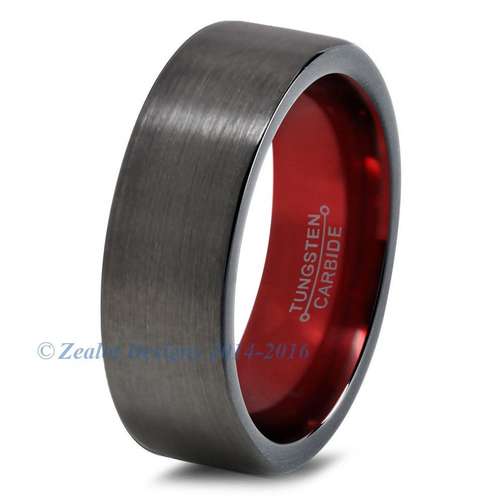 Stainless Steel 2 Color Red Enameled Comfort Fit Flat Band Ring