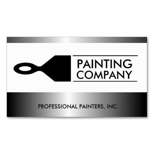 Painter Painting Contractor Paint Brush Metallic Business Card Template