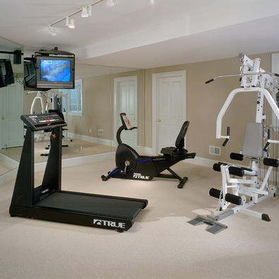 Home gym small design like the tv hanging from the for Small room workout