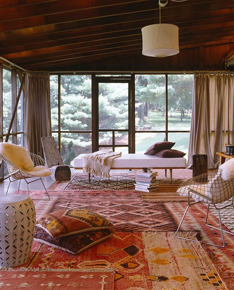 This Mid Century Moderne Room Of Colorful Flat Weave Rugs Laid End To