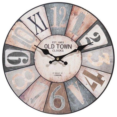 eca0db7ed85d5c Horloge en bois D 34 cm   Miroirs, horloges   Wooden clock, Clock et ...