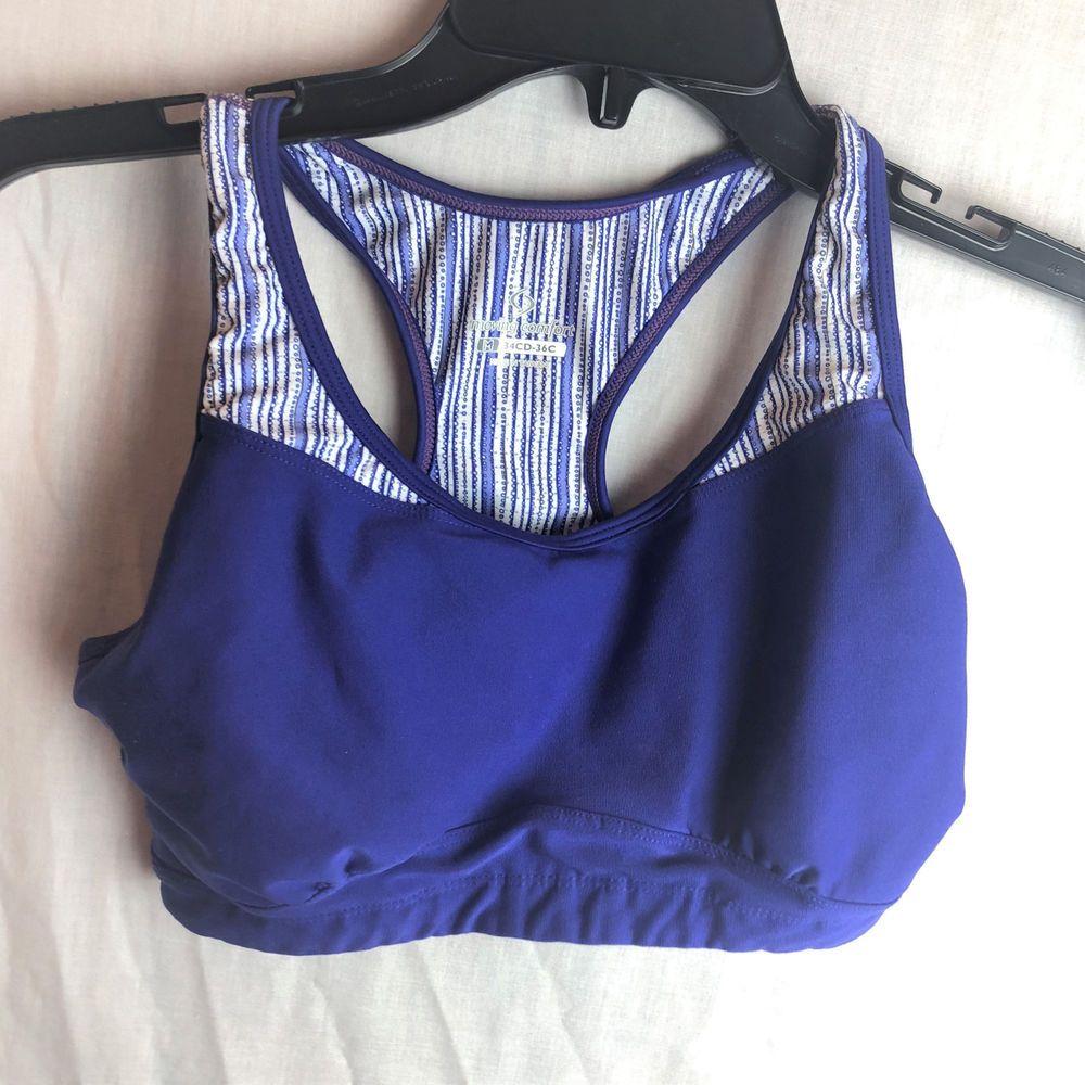 Moving Comfort Sports Bra M 34CD36C Lined Purple Blue