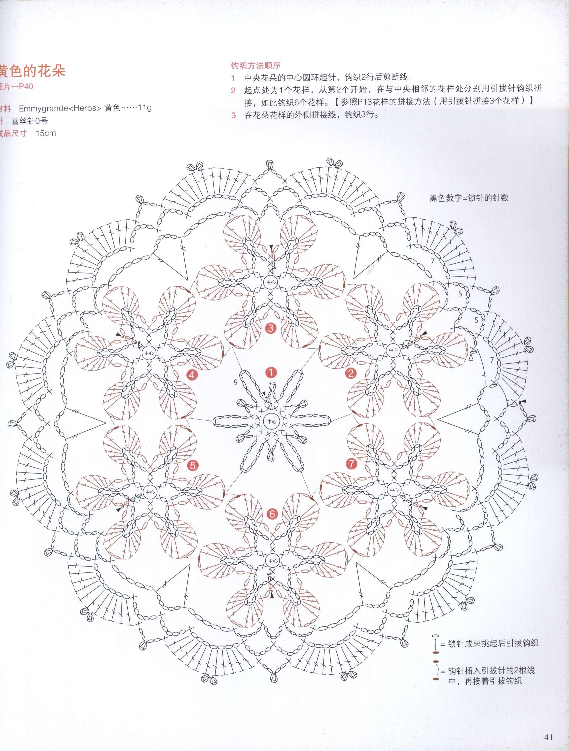 Crochet Round Motif Whit Flower Diagram