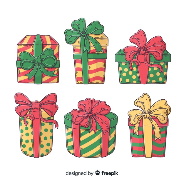 Download Hand Drawn Christmas Gift Collection For Free Gift Vector Christmas Illustration How To Draw Hands