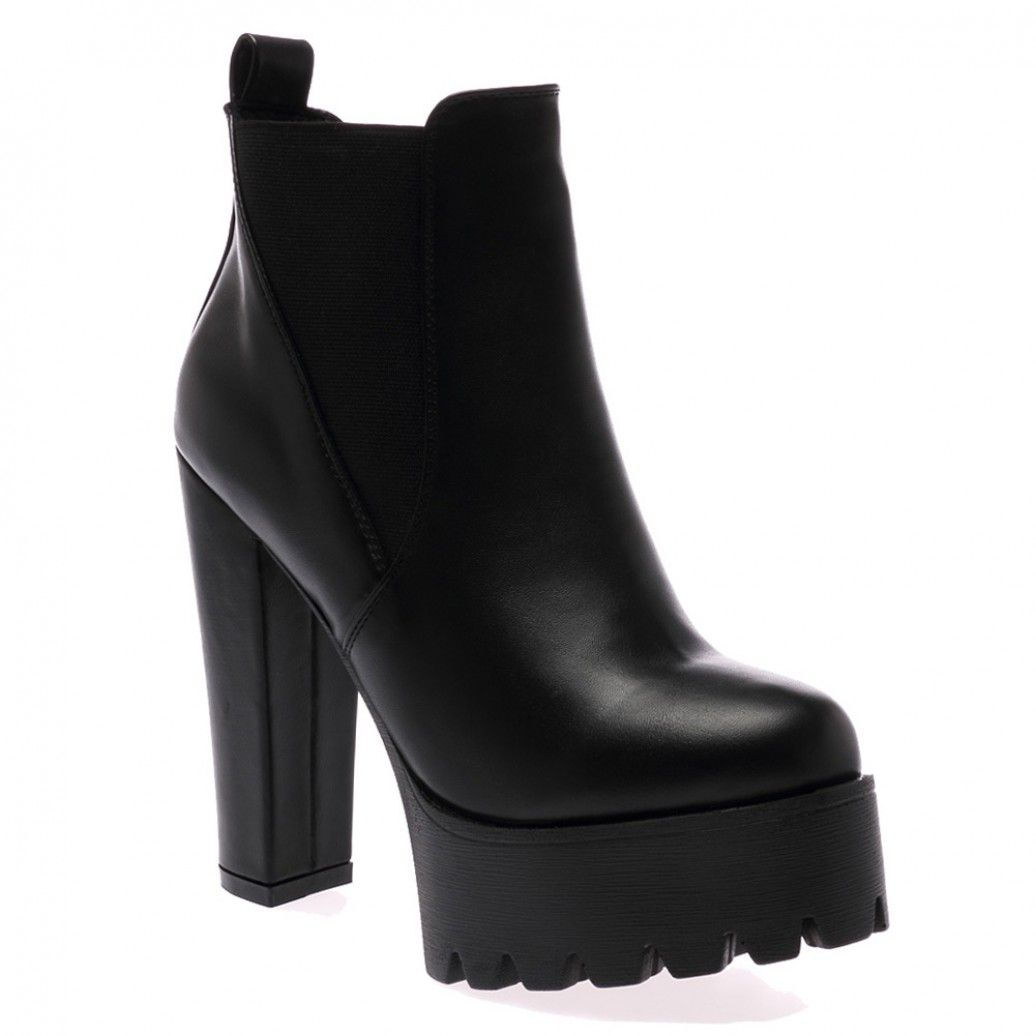 fe261a55f6af Hallie Black PU High Heel Chelsea Boots