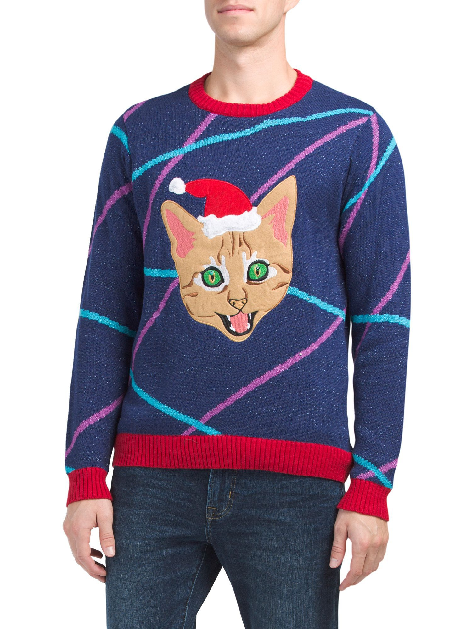 6e73c5d9927d1 Laser Eyes Kitty Light Up Christmas Sweater | Products | Christmas ...