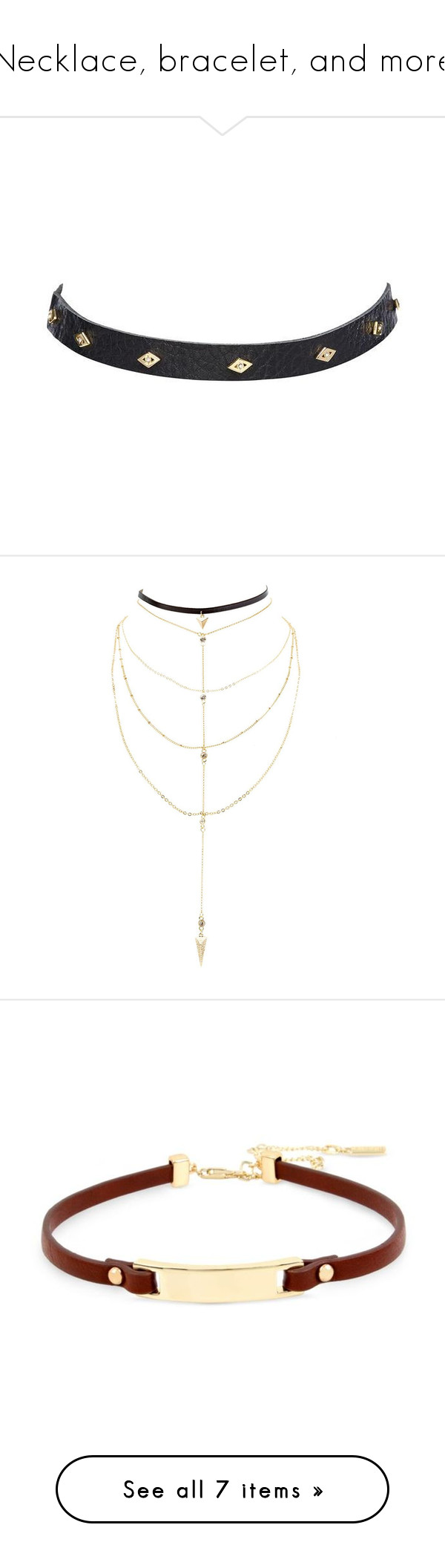"""Necklace, bracelet, and more"" by vampirekitty34 ❤ liked on Polyvore featuring jewelry, necklaces, evil eye necklace, studded jewelry, gold evil eye necklace, studded choker necklace, gold evil eye jewelry, accessories, gold and layered chain necklace"