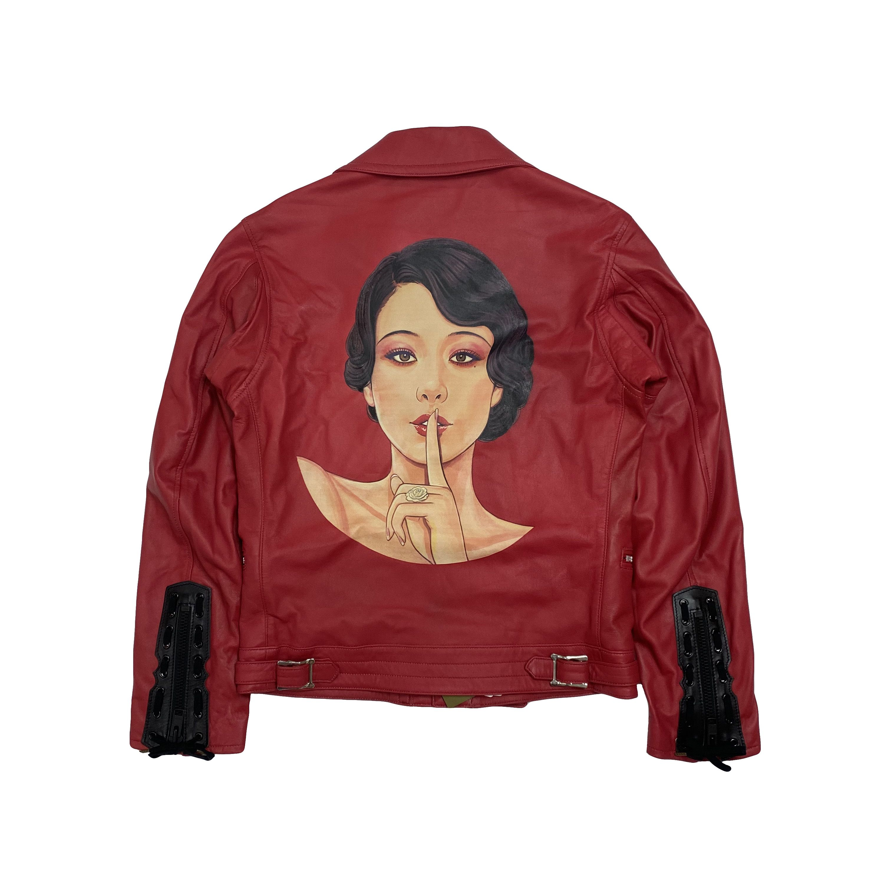 Yohji Yamamoto S S 2018 Painted Woman Leather Jacket Leather Jackets Women Jackets Leather Women [ 3024 x 3024 Pixel ]
