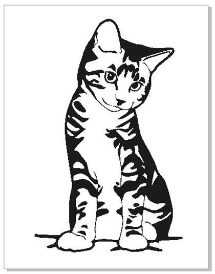Cat Stencil Силуэт животного Кошачий