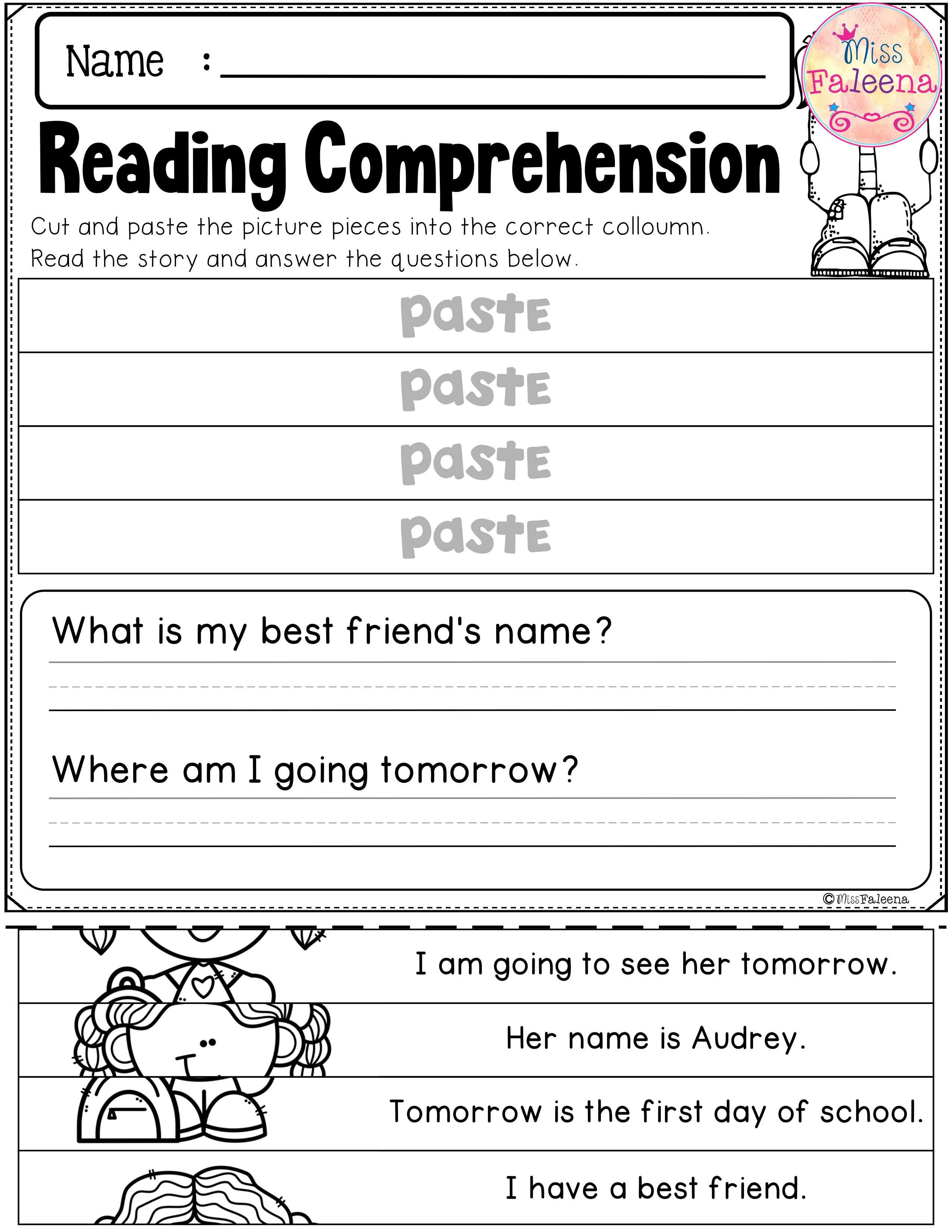 Back To School Reading Comprehension Puzzles With