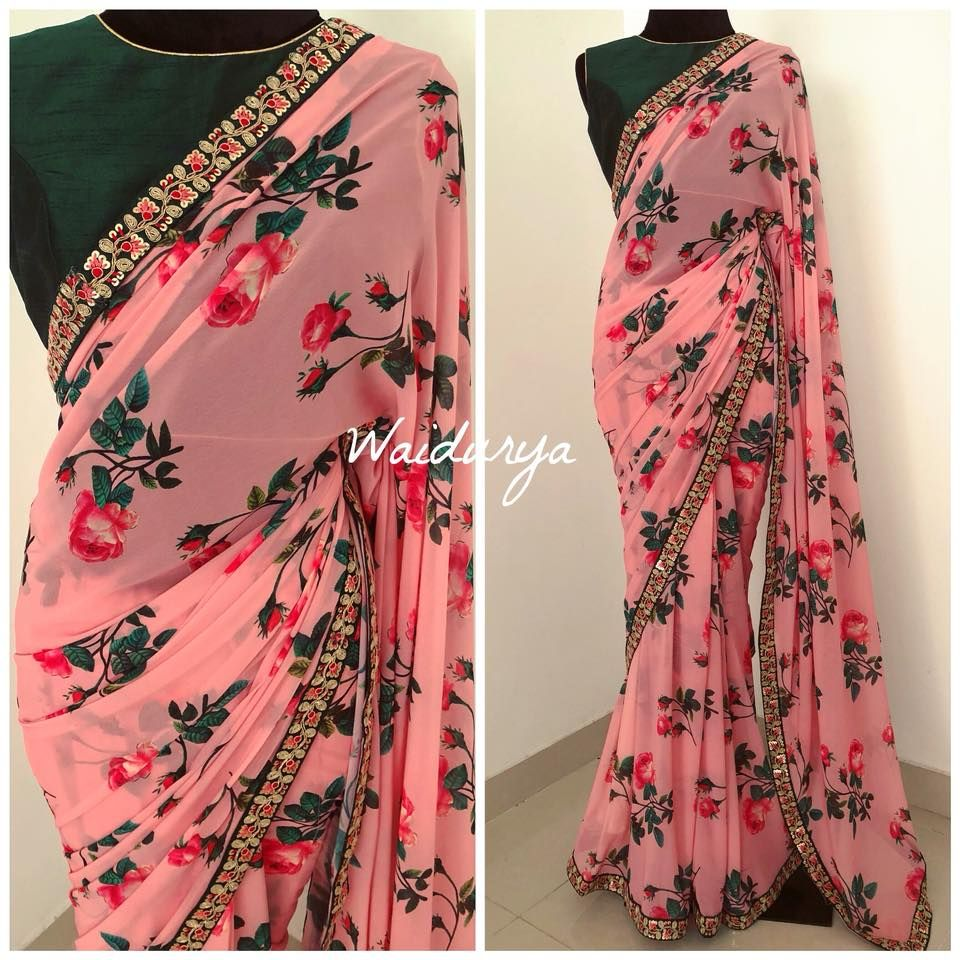 Gorgeous Pink Color Designer Blouse With Rose Flower Print Designer Saree With Bottle Green Color High Neck Blouse 08 A Saree Designs Fancy Sarees Saree Look