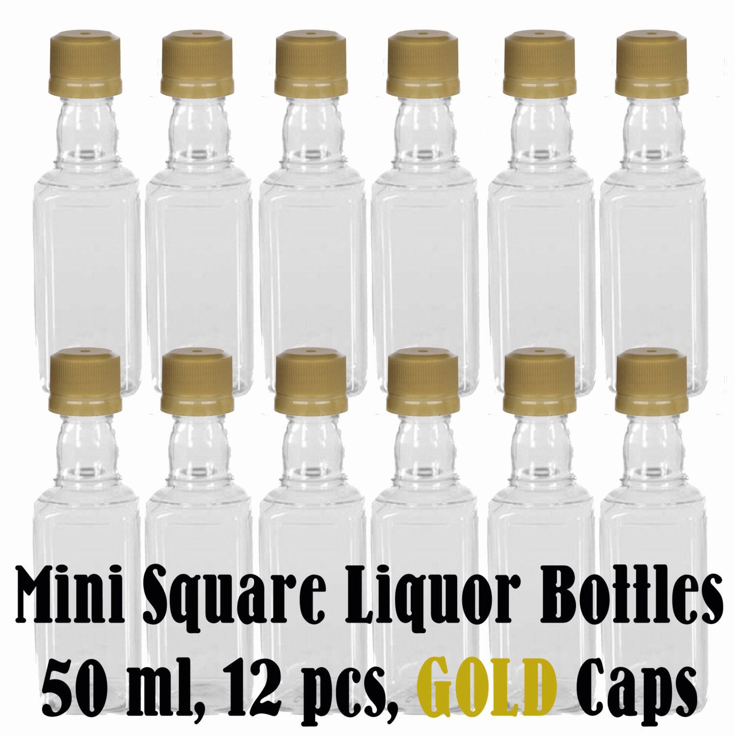Mini SQUARE Plastic Alcohol 50ml Liquor Bottle Shots + GOLD Caps, 12 ...