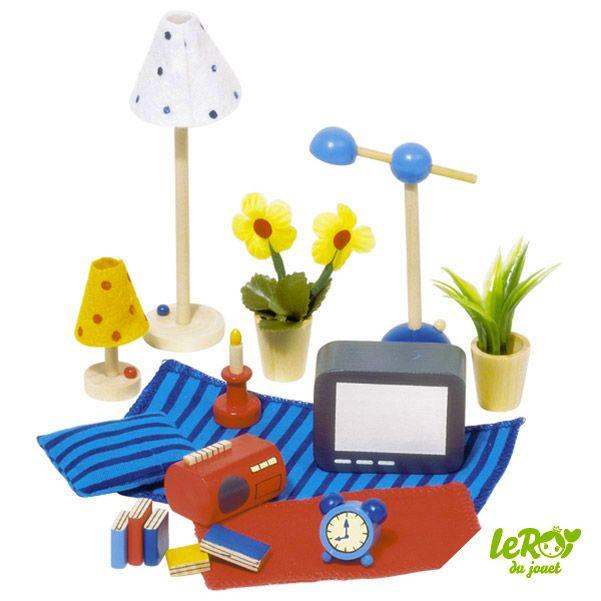 accessoires pour maison de poup es ou playmobil en bois. Black Bedroom Furniture Sets. Home Design Ideas
