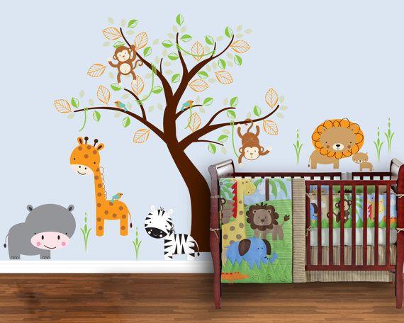 Safari Sceen Full Room, Lion, Giraffe, Zebra, Monkey