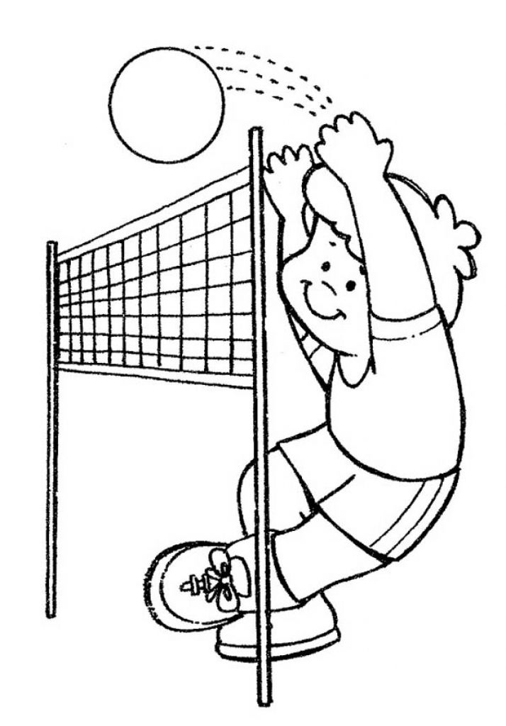 Online Volleyball Preschool Coloring Page Sports