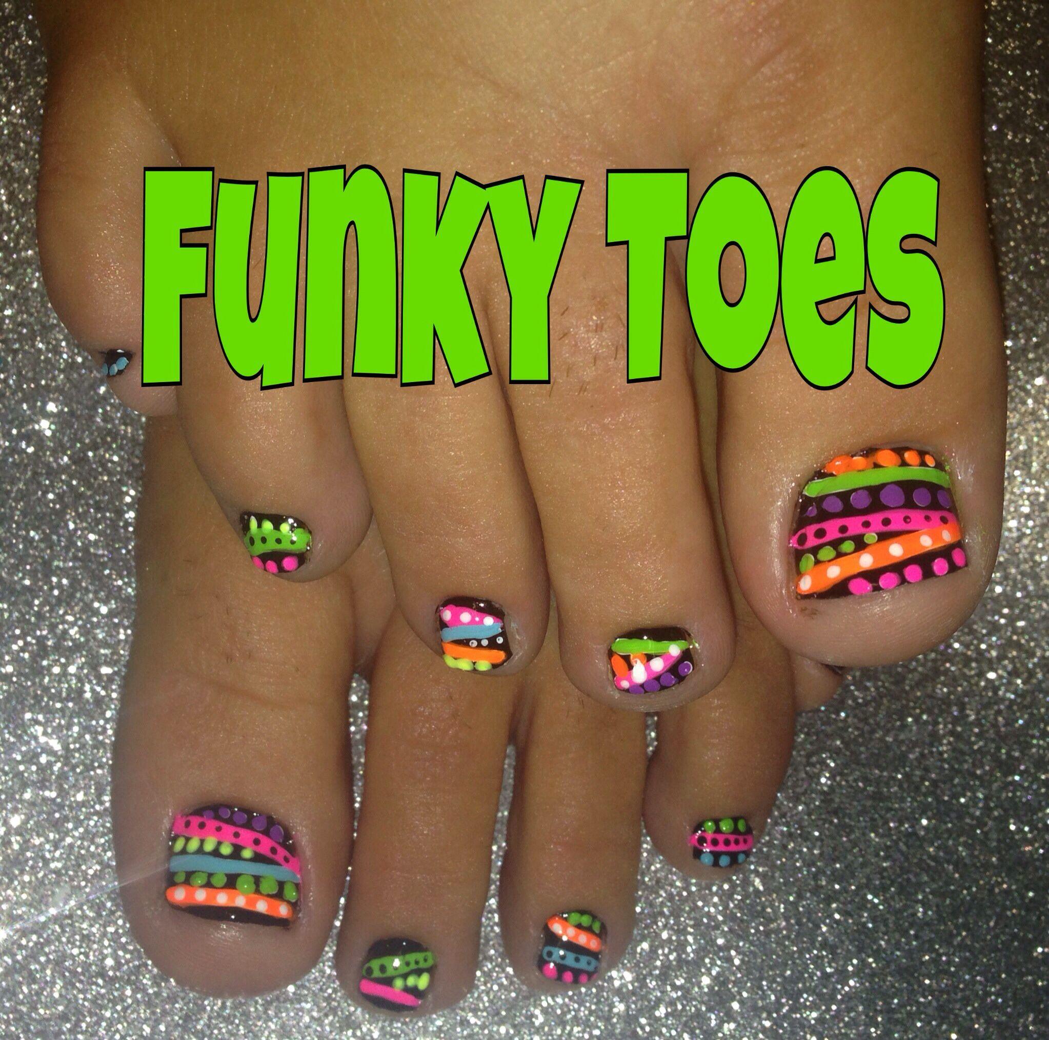 Bright Neon Abstract on Black Toe Nail Art   TOE-NAIL ART, PEDICURE ...