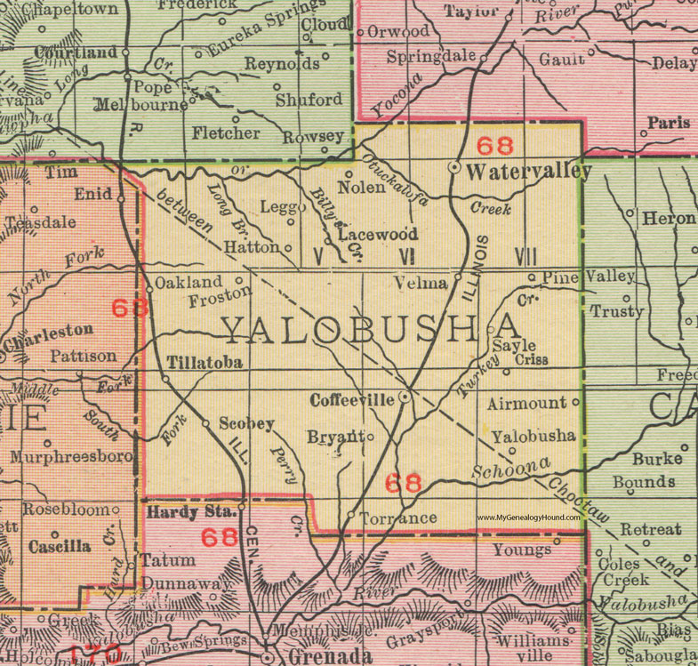 Yalobusha County Mississippi 1911 Map Rand Mcnally Water Valley Coffeeville Oakland Tillatoba Scobey Velma Leggo Water Valley County Map Mississippi