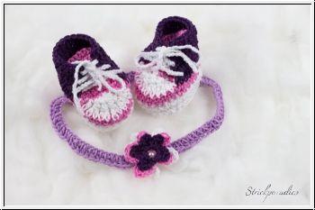 Strickparadies - Geschenke-Sparset - Haarband/ Sneaker-Babyschuhe _ 034