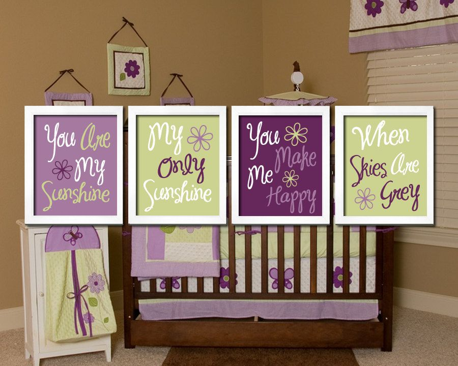 Cute Lavender Purple Green You Are My Sunshine Quote Nursery Song Print Artwork Set Of 4 Prints Wall Decor Art Picture 38 50 Via Etsy