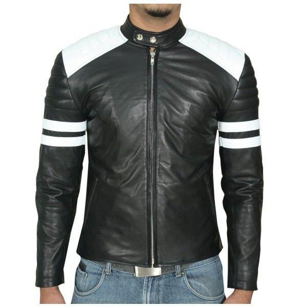 Black Biker White Stripes Mens Nappa Leather Jacket Leather