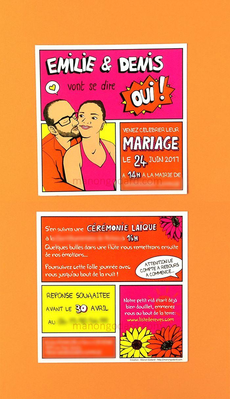 Faire-part de mariage personnalisé pop-art rose/orange
