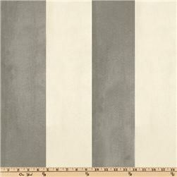 "Vintage Suede Stripe Silver/Cream - 8.98/yd; 100% polyester; medium weight, soft hand, care: dry clean, horizontal repeat: 9.5"", width: 58"""