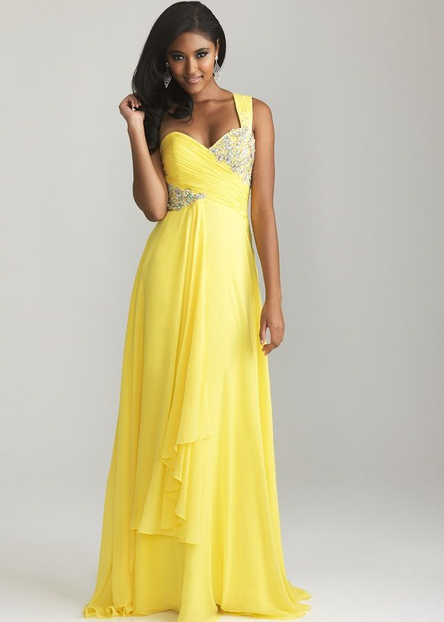 Images of Long Yellow Prom Dresses - Reikian
