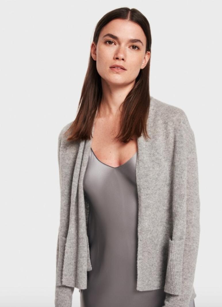 White+Warren Shruken Pocket Cardigan - Grey Heather  785e2194c