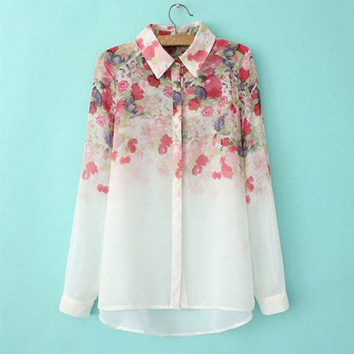 Cheap blouse with short sleeves, Buy Quality blouse design directly from China blouse back Suppliers:  Women's Fashion Summer Casual OL Long Sleeve Flower Print Chiffon Shirt Blouse  Type: ShirtMaterial: ChiffonSize T