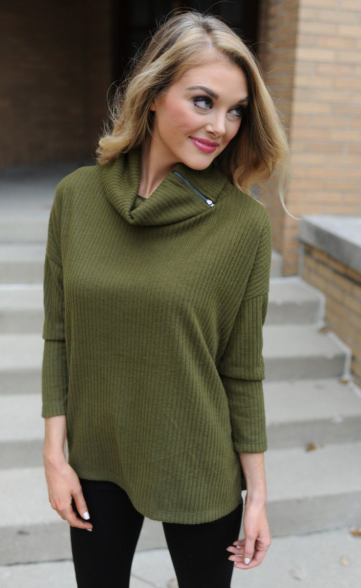Olive Ribbed Cowl Neck Sweater - Dottie Couture Boutique