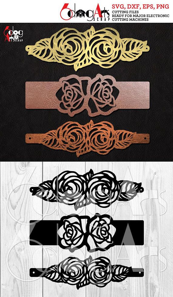 Photo of 3 Rose Cuff Bracelet Leather Jewelry Templates Vector Digital SVG DXF Cut Files …