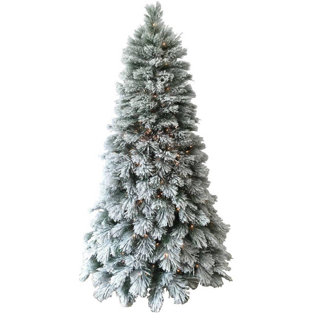 PreLit 7.5ft Flocked Christmas Tree 450 Clear Lights