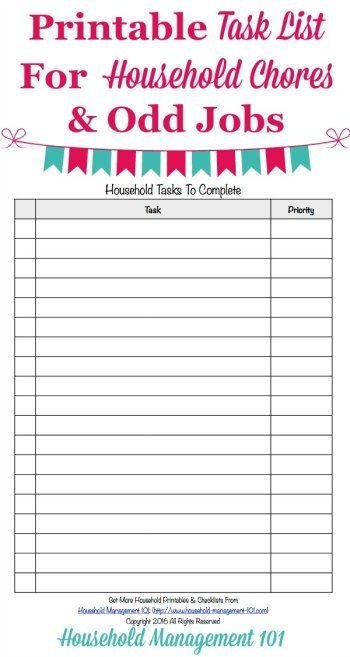 weekly chores list template