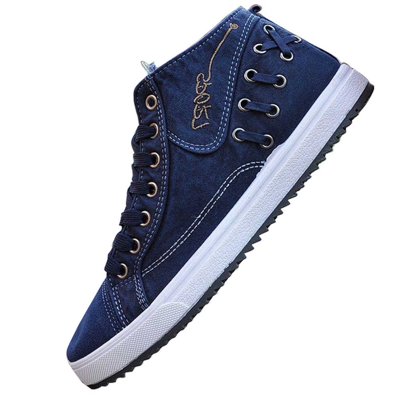 01be6d625ba1b Amazon.com   Men Casual canvas denim boat shoes flat Ankle boot lace ...