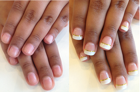 Before After Photo For A Bio Sculpture Set Of Nails Using Free Edge Gel French Manicure With Gold Striping Tape