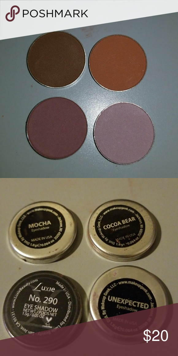 Makeup Geek And One Luxie Nrand Makeup Geek And Lukie Brand Never Used Top Row Mocha Cocoa Bear Bottom Row Luxie No 290 Mu Makeup Geek Makeup Eyeshadow