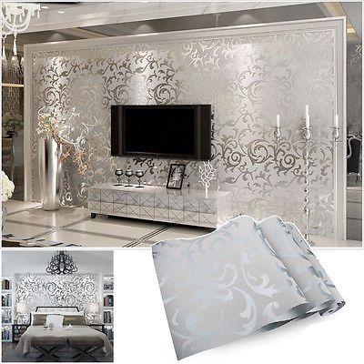 vliestapete 3d optik vlies wand tapete barock rolle wandtapete dekoration silber tapeten. Black Bedroom Furniture Sets. Home Design Ideas