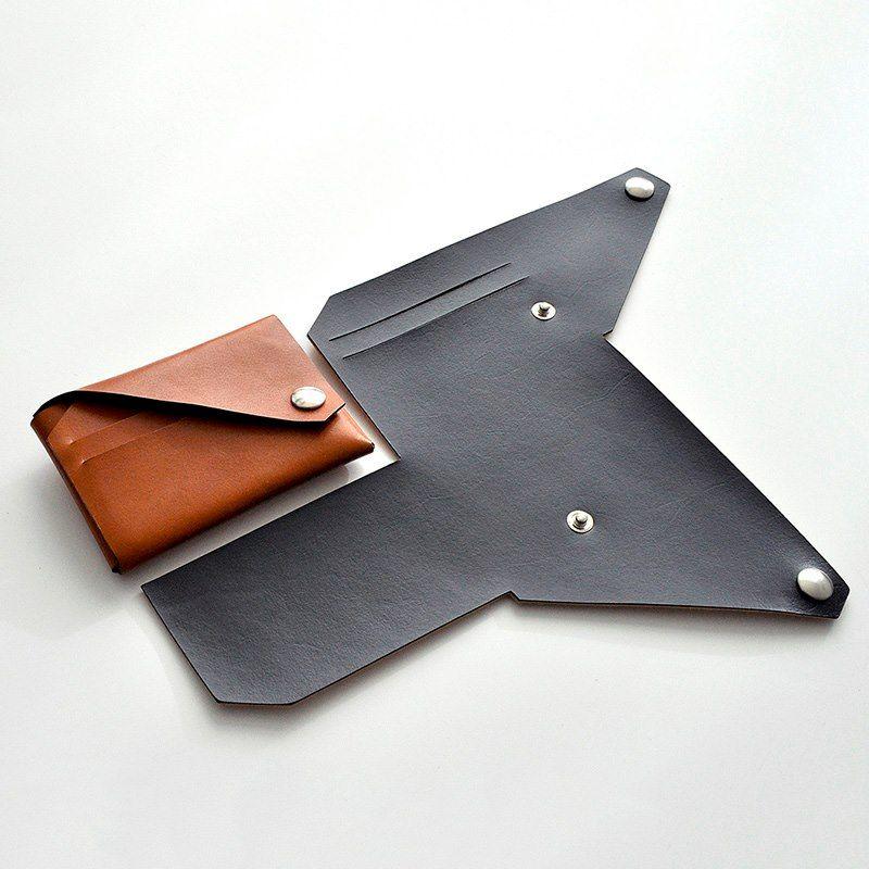 Portefeuille en cuir Lemur façon origami