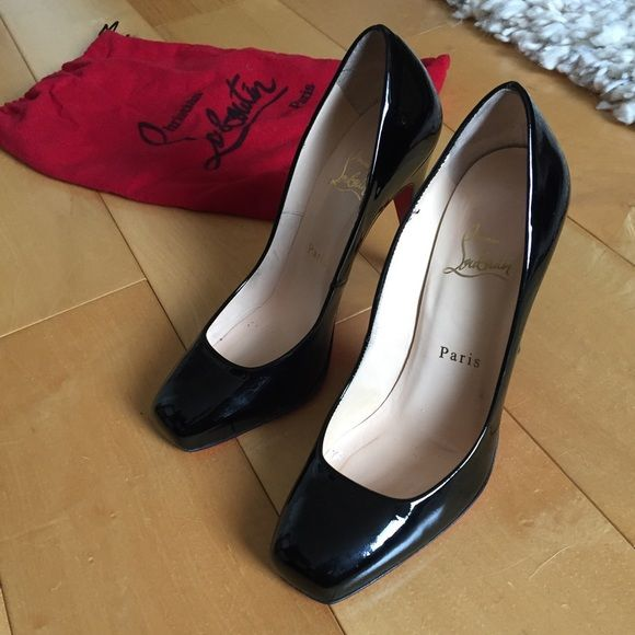 df7ab1f21d6 Christian Louboutin pumps Authentic Christian Louboutin square-toe black  patent leather heels. ~4.5