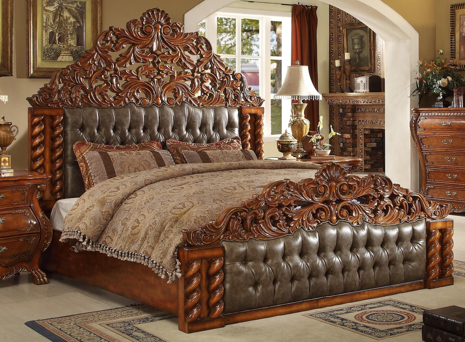 Homey Design Hd 20131 Victorian Bed Usa Furniture Warehouse Bed Furniture Design Luxury Bedroom Sets Bedroom Bed Design