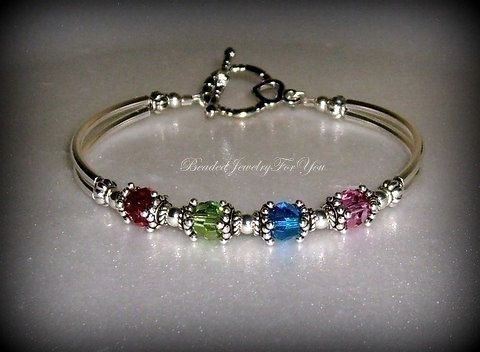 Birthstone Bracelet Mothers Custom Bracelets Day Gift Personalized Jewelry Handmade For Mom This Lovely